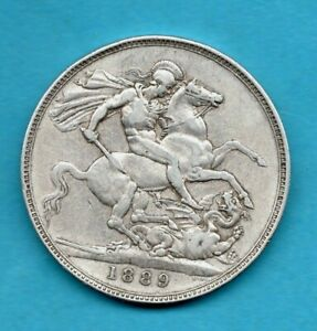 1890 STERLING SILVER CROWN COIN. QUEEN VICTORIA JUBILEE HEAD. (SCUFF ON OBVERSE)