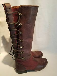 NAYA Apollonia Two Tone Brown Red Leather Suede Riding Boots Lace Up Women's 5