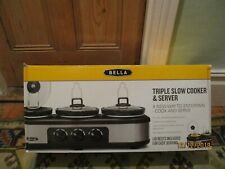 BELLA Slow Cooker & server with 3 Stoneware cook bowls