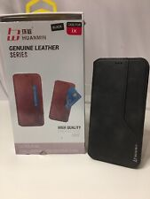 """Genuine Leather Phone Case for iPhone X, Black """"weathered"""" Look, Front Pocket"""