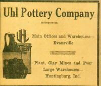 Advertising Uhl Pottery Company Clay Mines Huntingburg IN Arts & Crafts 1924