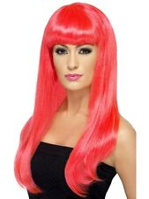 Women Girl Neon Pink Babelicious Wig Long Straight Fringe Katy Perry Colour Hair