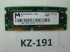 64MB ; SDRAM 144pin; 100MHz; PC100 CL2; 3.3V = Micron MT4LSDT864HG-10EB1 #KZ-191