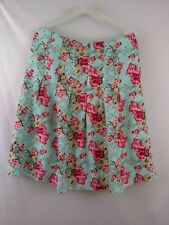 MAC & JAC Blue Pink Tan Floral 100% Silk Pleated Skirt  Sequin/Bead Trim  Size 8