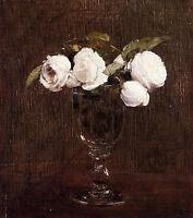 Beautiful Oil painting Henri Fantin Latour - Vase of Roses flowers in vase