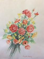 Grande aquarelle bouquet signée Mireille Bailly