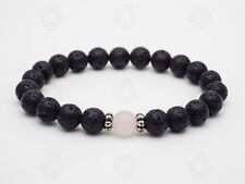 Rose Quartz Lava Bracelet Bead Stone Reiki Healing Gemstone Chakra Yoga Gift UK