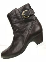 Clarks Ankle Booties Side Zip Ankle Heels Women's Brown Leather Boots Size 8 M