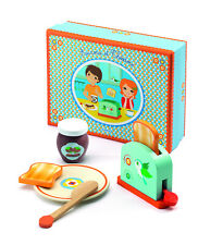 Djeco Aurora and Theodore Toaster Set | Wooden Toaster Plate Jam Bread