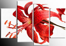 LARGE RED TIGER LILY FLORAL FLOWER CANVAS PICTURE WALL ART MULTI 4 PANEL 100 cm