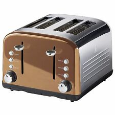 KITCHEN COLLECTION STAINLESS STEEL 4 WIDE SLICE TOASTER - COPPER