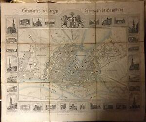 Grundriss der freyen Hansestadt Hamburg um 1850 + Tabelle