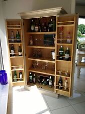 Bespoke Drinks Cocktail Cabinet 2 Door Hand Painted Oak & Tulip Wood