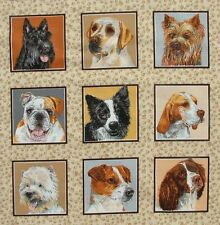 Dogs Doggies Delight Card Squares fabric 30 x 112 cm 33 squares Nutex 11300-1