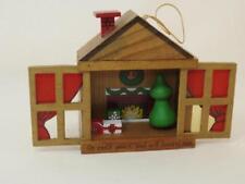 VTG Miniature Christmas Doll House - Wood, Sliding Doors, Fireplace Scene  Japan