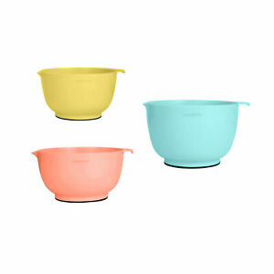 Farberware Professional Set of 3 Non-Slip Mixing Bowls Spout, Aqua Orange Yellow