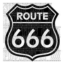 Route 666 decal sticker vinyl graphic custom biker harley Devil track car demon