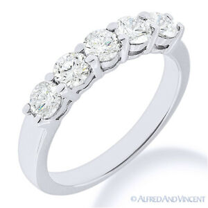 Round Cut Moissanite Shared 4-Prong Ring 5-Stone Wedding Band in 14k White Gold