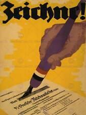 Guerra di propaganda WWI Germania BOND certificato segno di penna art print poster bb7062b