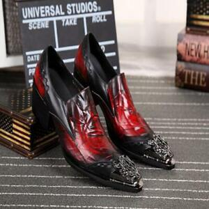 Men Fashion High Heel Dragon Patten Iron Pointy Toe Leather Outdoor Loafer Shoe