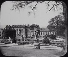 Glass Magic Lantern Slide CHATSWORTH HOUSE FROM FRENCH GARDENS C1890 PHOTO