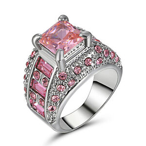 Size7 Princess Pink Sapphire Wedding Ring Women's 10KT White Gold Filled Jewelry