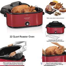 Hamilton Beach 28 lb Turkey Roaster Pan Electric Oven Red Cook Bake Roast Large