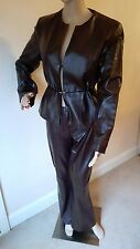 JOSEPH DESIGNER BROWN LEATHER SUIT JACKET AND TROUSERS RRP £600