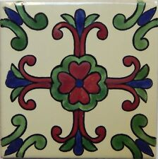 Mexican Tile Talavera Tiles High-Quality Hand Painted Cross Flower  Tile T-20
