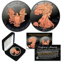 2019 BLACK RUTHENIUM 1 Troy OZ American Silver Eagle ASE Coin - 24K ROSE GOLD