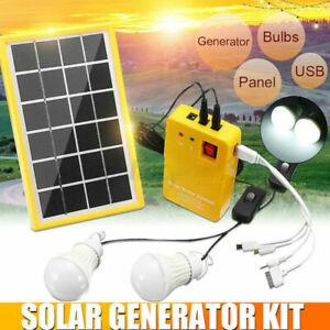 Solar Panel Power System Kit Charging Generator 3 LED Light Bulb Outdoor Camping