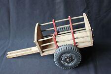 Rare ancienne remorque bois cheval tracteur L 42 cm l20 cm h 17cm pneu plastique
