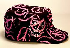Pink & Black Joe Boxer John Lennon Retro Style Hat Cap Peace Signs & Rhinestones