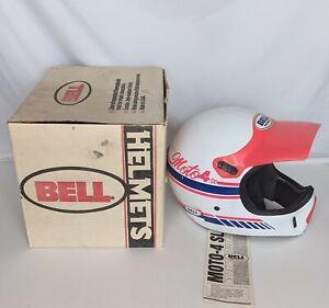 Vintage Bell Moto 4 SL Motocross Helmet w/ Visor Original Box White & Pink 1989