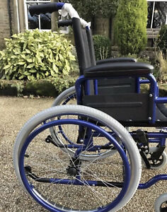 SUPER QUALITY KIDS CHILDS SELF PROPEL WHEELCHAIR 12 inch SEAT WIDTH BLUE