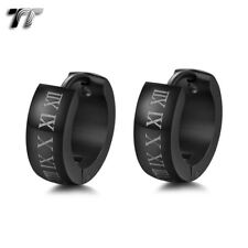 Quality TT 5mm Matt S.Steel Black Roma Number Thick Hoop Earrings EH142(5)NEW
