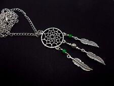 """Un Precioso Plata Tibetana Y Verde Jade Dreamcatcher Collar en 26"""" Cadena. Nueva."""