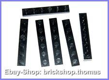Lego 4 x Platte (1 x 6) - 3666 schwarz - Black Plate - NEU / NEW