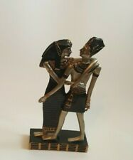 "Egyptian Couple Statue Figurine Resin Black Gold Silver 8"" Egypt Decoration"