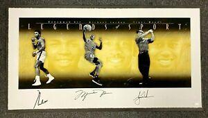 Michael Jordan + Muhammad Ali & Tiger Woods Multi Signed Poster  230/500 UDA COA