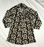 Women's Style & Co. Brown Polka Dot Top 3/4 Sleeve Top-Size PM