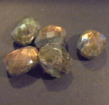 LOT DE 5 PERLES PIERRE NATURELLE INDE LABRADORITE 20mm NATURAL STONE BEADS INDIA