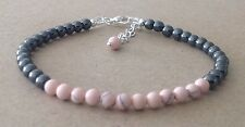 PINK HOWLITE+Black HEMATITE Beads, Silver Plated, Friendship Bracelet