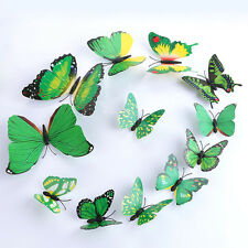12 Yellow 3D DIY Butterfly Wall Green Sticker Butterfly Home Decor Room Stickers