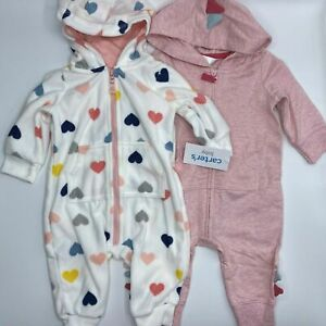 Girl's 6 Months (12.5-17lb)  2-Pack Adorable Carter's Heart Dino Jumpers Outfits