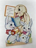 Vintage A-Meri Card Easter Mechanical Rabbits Bunnies Stand Up Original Envelope