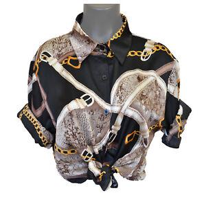 Vintage Versace Baroque Free Size Chain Black Retro White Long Sleeve T Shirt