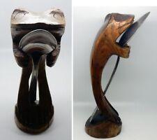 Antique Hand Carved Folk Art Hardwood Frog Sculpture Spoon Holder Display Stand