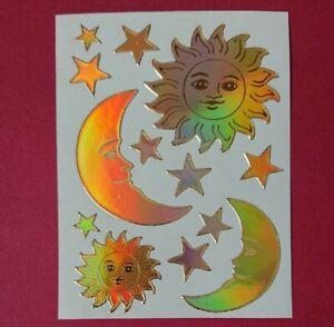 Stickeralbum Sticker Vintage 90er Jahre Metallic Mylar Sonne Mond Sterne