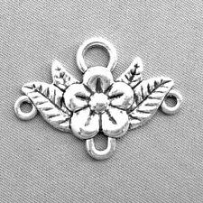 Antique Silver Plated Zinc Alloy 32x23mm Flower Leaf Chandelier Connectors Q15